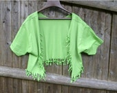 Shabby Chic Sliced Knotted and Beaded Bolero T Shirt Jacket  Shown  here  in Adult  Lemon Lime with Lime Beads-Youth sizes available