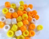 Pony Beads 6 x 9 mm 210 Beads in Color Combo Candy Corn Mix  Orange Yellow and White Mix