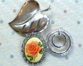Vintage Collection of Silvertone and Floral Brooches -Pendant for Collecting or Repurposing
