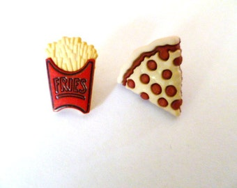 Earrings Mix and Match Collection Snack Food Pizza and Fries