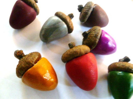 Polymer Acorns with Real Acorn Cap-Set of Twelve (12 Autumn Color Collection Choose Colors