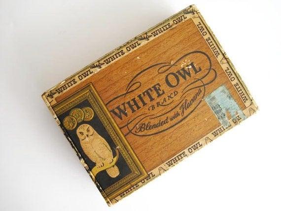 Vintage Antique White Owl Cigar Box