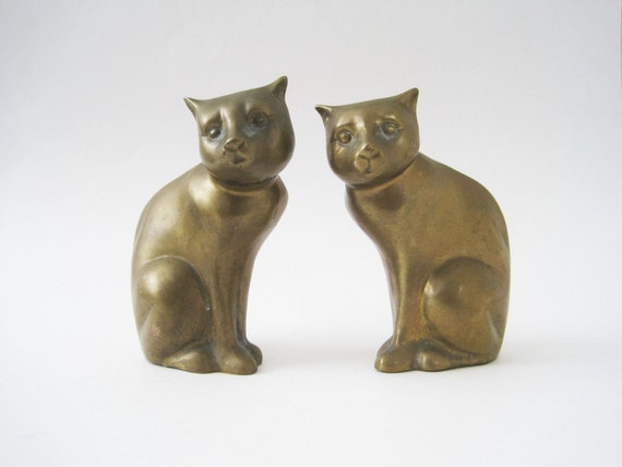 Vintage Pair Brass Cats