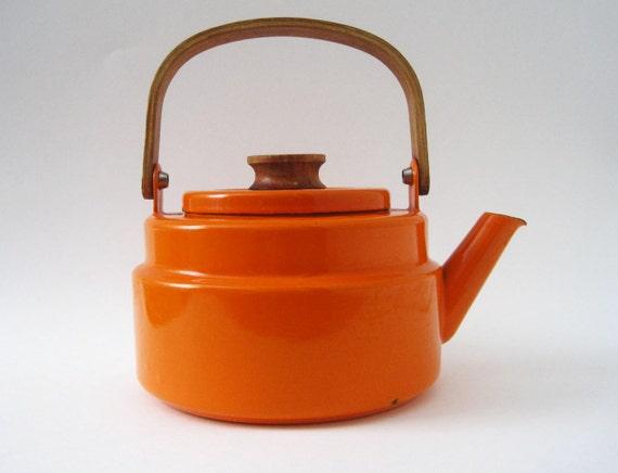 Vintage Danish Modern Orange Enamel Teapot Teak Handle