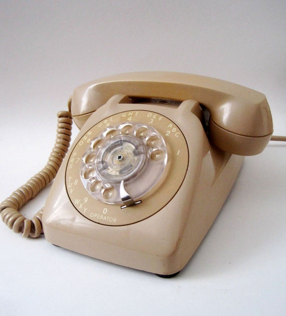 Vintage 1970s GE Tan Putty Color Rotary Dial Telephone