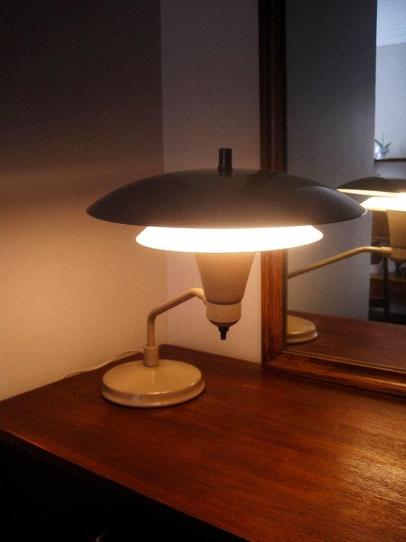 HOLD.  Mid Century Atomic Age Flying Saucer Metal Lamp 1950s