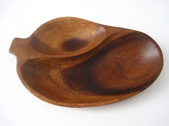 HOLD for Genevieve.  Vintage Organic Leaf Shape Monkey Pod Divided Wood Serving Bowl Dish