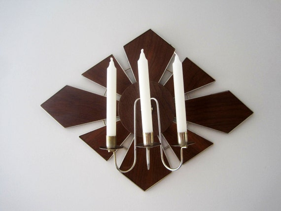 Mid Century Modern Atomic Starburst Wall Sconce Candle Holder