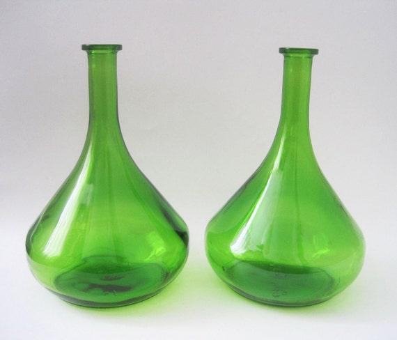 Pair Vintage Modern Emerald Green Glass Genie Vases