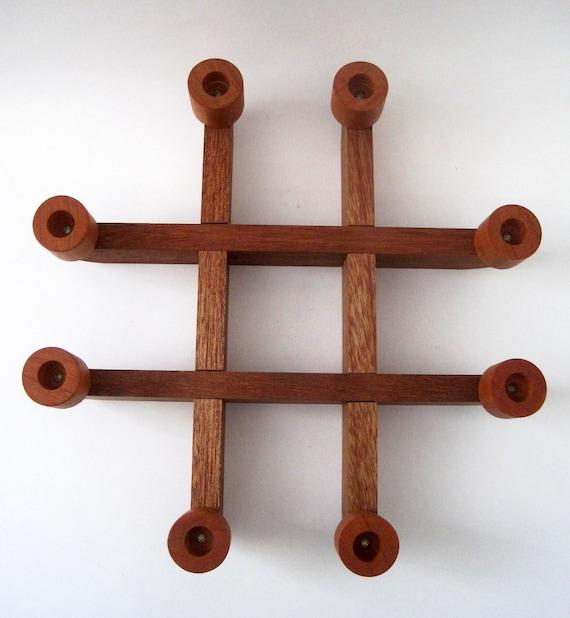 Mid Century Tic Tac Toe Style Teak Wood Candle Holder