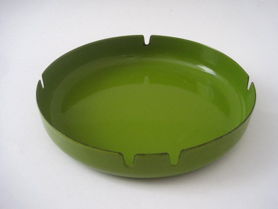 Mid Century Modern Green Metal Ashtray or Catch All Japan
