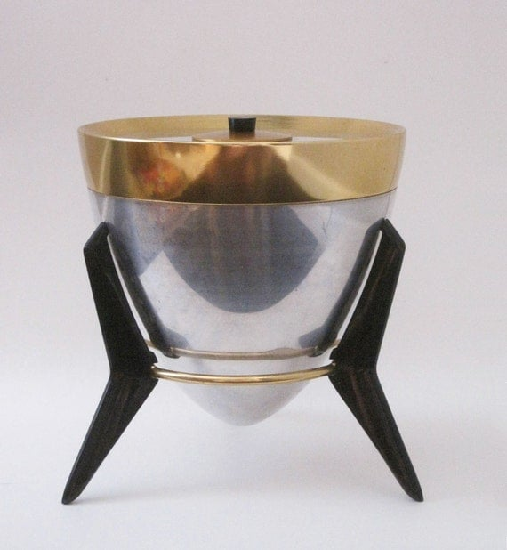 HOLD for Guy.  Mid Century Atomic Space Age Stainless Ice Bucket on Bakelite Stand