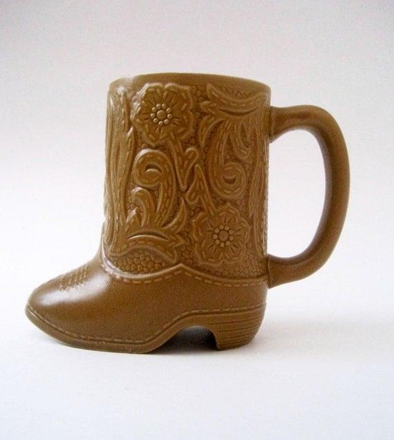 VIntage Tan Cowboy Boot Coffee Mug