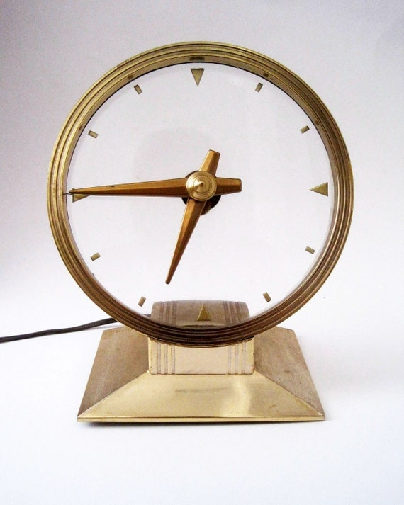 Vintage Art Deco Haddon Golden Vision Mystery Clock Model 70 with Lighted Dial