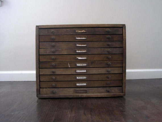 HOLD for Lori.  Antique Wooden 10 Drawer Letterpress Cabinet