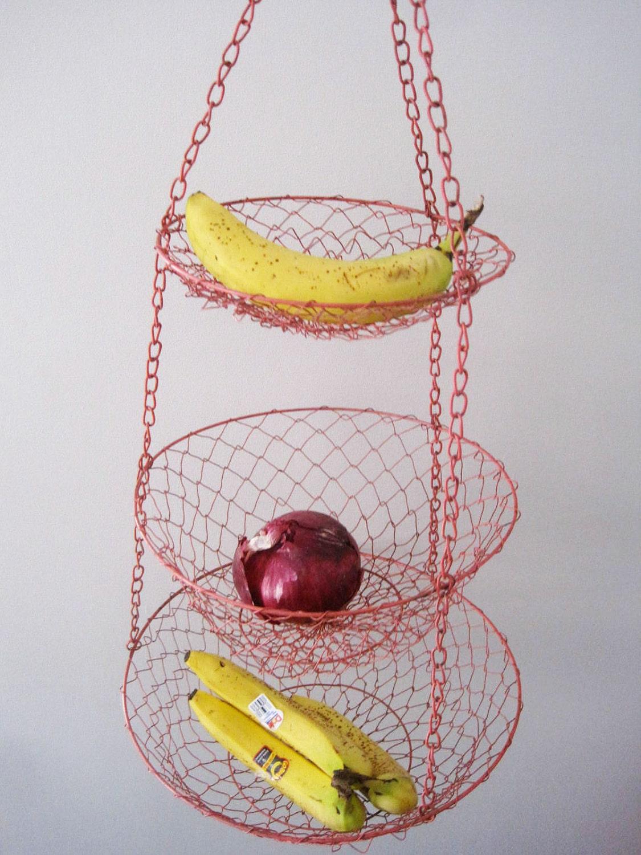 Vintage Red Wire Hanging Fruit Or Vegetable Basket