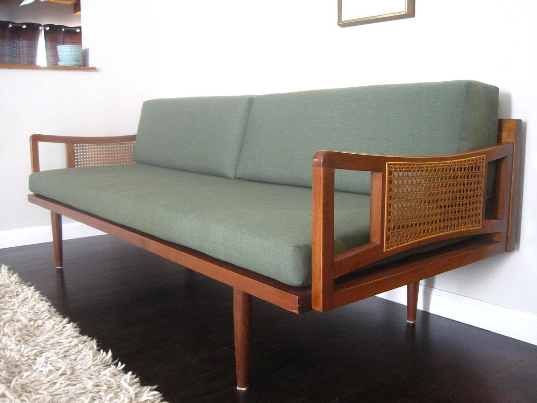mid century danish modern peter hvidt style sofa daybed 1960s. Black Bedroom Furniture Sets. Home Design Ideas