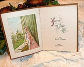 CLEARANCE SALE, FREE SHIPPINGBeautifully Leather Bound Embossed Vintage Book with Lithograph Pictures of Nearer My God to Thee