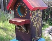 Jeweled Birdhouse - painted whimsical wood birdhouse