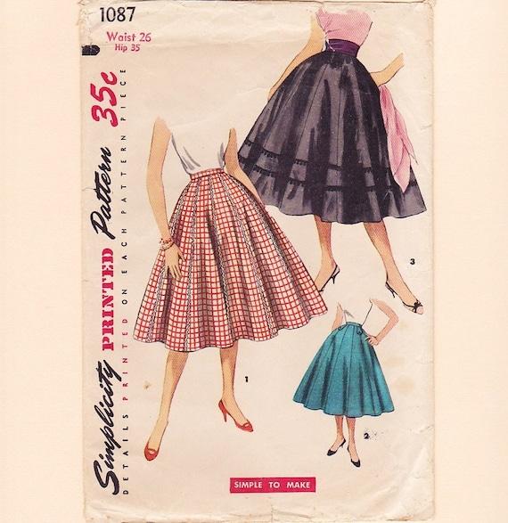 vintage 1950s skirt pattern womens rockabilly flared 1955