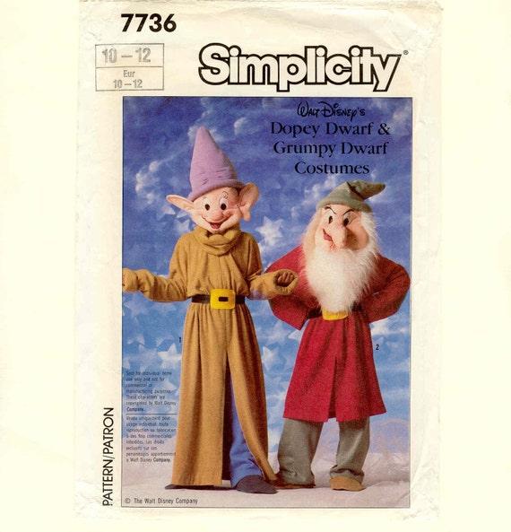 Uncut Costume Pattern Disney Dopey Grumpy Dwarf Simplicity 7736 Size 10-12 Vintage