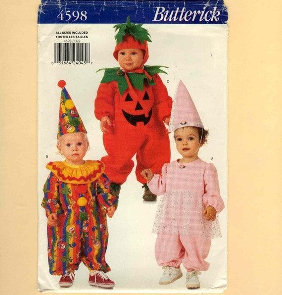 Costume Pattern Baby Toddler Ballerina Pumpkin Clown All Sizes Uncut Butterick 4598