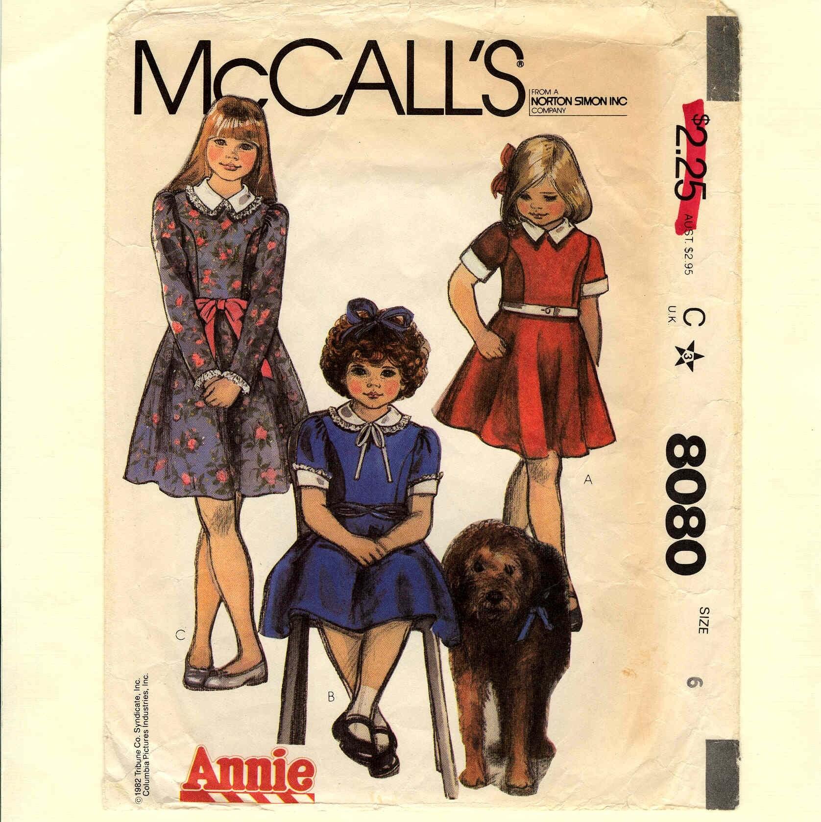 Annie Dress Vintage Pattern McCalls 8080 Size 6 by bigdreamsupply