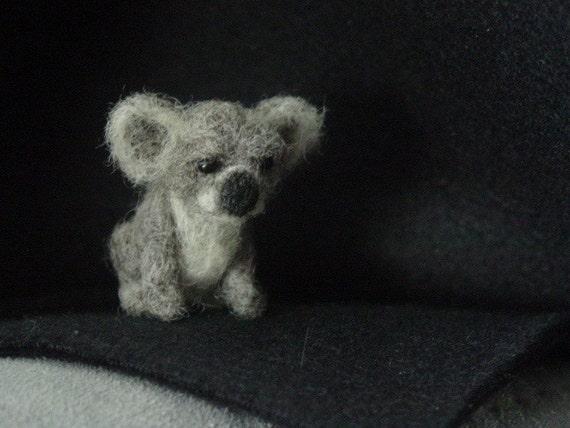 Tiny needle felted baby koala