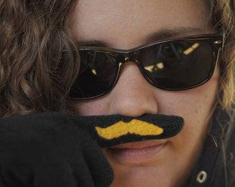 Black Finger Mustache Gloves with Conductive Fingertips - for use with smart devices