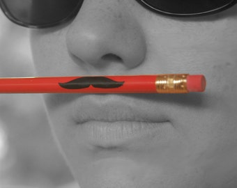 Mustache Pencils in Red (listing for 4 pencils)