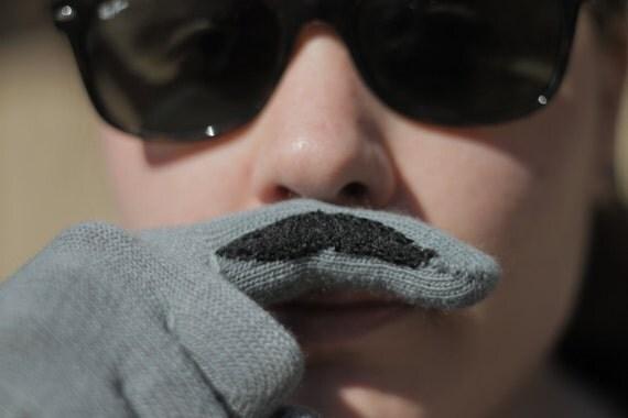 Grey Finger Mustache Gloves
