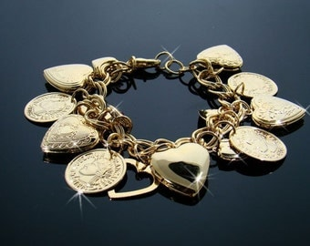 Gold coins and hearts bracelet
