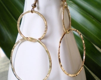 Double Hoops Gold Filled and Hammered