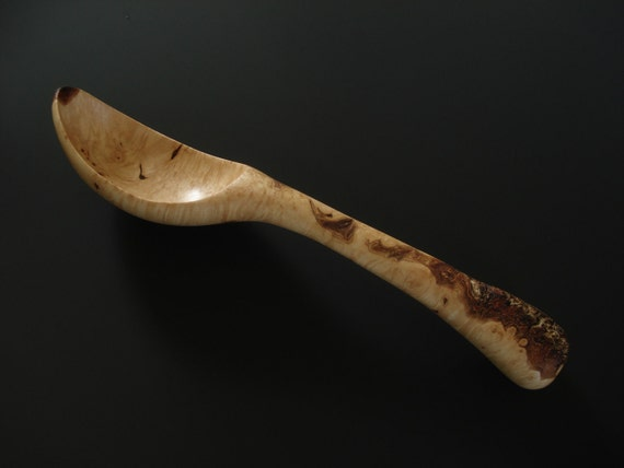 Maple Burl with bark inclusions wooden spoon hand carved by Spoontaneous, wood spoon, wood carving, carved spoon, wood anniversary gift