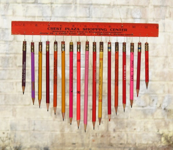vintage pencil & ruler chimes / mobile