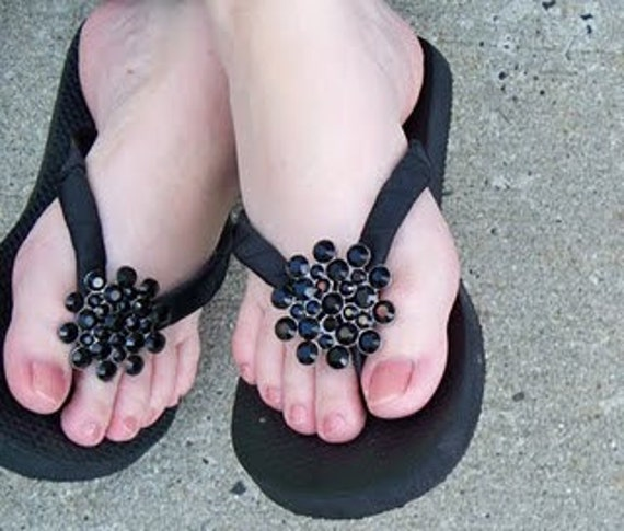 Rhinestone Flip Flops Bling  Buckle Bubbles Silver and Black Mom Girl Boutique Ribbon Flip Flops choose your ribbon color