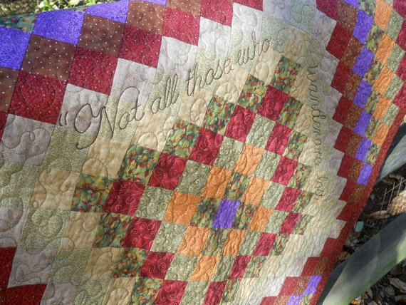 "Throw Quilt with JRR Tolkien Quote - ""Not All Those Who Wander are Lost"""
