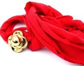 Crimson Red Handmade Asymmetrical Necklace