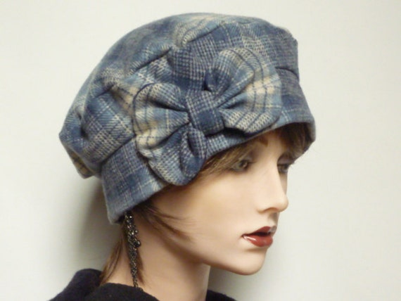 SALE item Blue Plaid Wool Cloche Hat