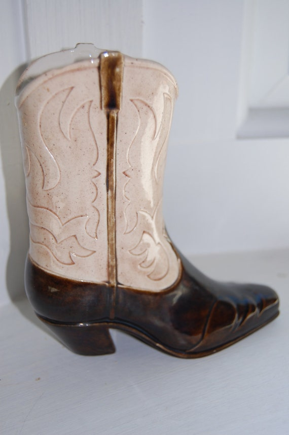 I go out walkin after midnight cowboy boot vase pencil holder