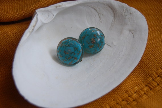 Italian turquoise and copper colored glass clip earrings