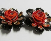 Recycled Soda Can rose flower hair clips, set of 2