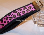 Hot Pink Leopard Print Key Fob