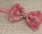 Pink Satin Rosette Rhinestone Bow Ships Free on Clip, Headband or Elastic by Dainty Diva Bows