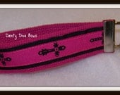 Gothic Cross Hot Pink and Black Key Fob Wristlet Zipper Pull Key Chain