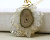 Stalacite Amethyst Druzy Slice in gold filled necklace, gemstone necklace