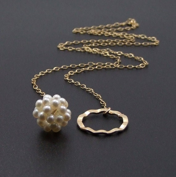 White pearl ball and a wavy textured Gold-filled hoop lariat Necklace