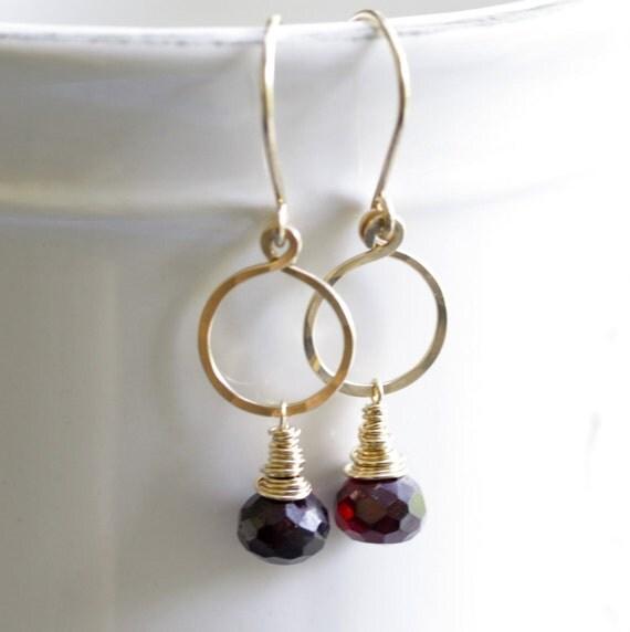 Rhodolite Garnet onion on a hoop - wrapped gold filled Earrings