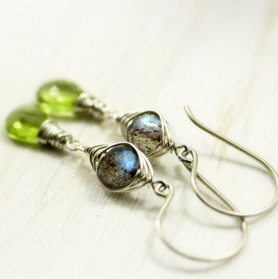 Reserved for Hattie - Peridot Labradorite Earrings Sterling Silver August Birthstone