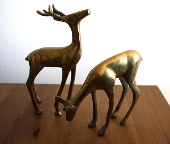 vintage mid century brass deer figurines